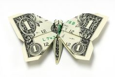 Origami tutorial on how to fold a shamrock out of Dollar Bills. An origami four leaf clover is a great money gift idea. To make this money origami cloverleaf. Folding Money, Origami Folding, Origami Easy, Origami Paper, Paper Folding, Origami Butterfly, Origami Stars, Butterfly Video