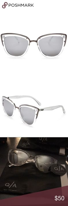 Quay My Girl Clear Sunglasses Mirrored Lenses NWT. Includes case. Flirty, retro-inspired cat-eye sunglasses are updated with a metal bridge and feature full sun protection. 50mm lens width; 20mm bridge width; 145mm temple length. 100% UV protection. Plastic. Quay Australia Accessories Sunglasses