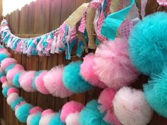 Ready to Ship Tulle Pom Garland, Wedding Backdrop, Birthday Backdrop, Cowgirl Party Decor on Etsy, $75.00