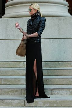 leather and long skirt or maxi dress....add a scarf