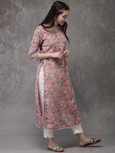Buy Anouk Women Pink Printed Straight Kurta - Kurtas for Women from Anouk at Rs. Simple Kurta Designs, Kurta Designs Women, Kurti Neck Designs, Salwar Designs, Printed Kurti Designs, Pakistani Dresses Casual, Pakistani Dress Design, Pakistani Fashion Casual, Indian Fashion