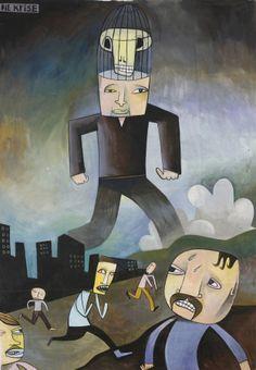 JIM AVIGNON DIE KRISE 2013 220 x 170 cm Acryl auf Papier http://www.villa-koeppe.de/galerie/jim_avignon.html