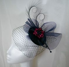 Navy Blue & Cranberry Veil Crinoline Fascinator Order Now from www.indigodaisyweddings.co.uk Specialising in stunning bespoke cocktail fascinators and formal hats in a wide range of colours, perfect for Royal Ascot and The Kentucky Derby. Plus all your wedding floral accessories including shoe clips, bandeau veils,vintage flapper bands, feather and flower fascinators, feather fans, fairy wands, wrist corsages, wedding bouquets & buttonholes. Worldwide Delivery. #wedding #fascinator #indigoda