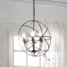 Metal wire checkered drum shape chandelier creative co op home globe chandelier creative co op home aloadofball Images