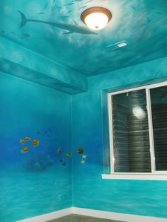 Kids Room/Playroom Inspiration Image detail for -Childrens Murals :: Underwater Mural picture by gar Underwater Bedroom, Underwater Theme, Kids Room Murals, Wall Murals, Nursery Murals, Ceiling Murals, Paint Ceiling, Kids Rooms, Bedroom Themes