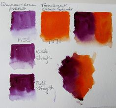 One persons attempt to become a good artist painting in watercolour, experiences along the way and discussion of all things connected with it. PETER WARD The Watercolour Log: Quinacridone Purple - Pigment Violet 55 ( Watercolor Mixing, Watercolor Tips, Watercolour Tutorials, Watercolor Paintings, Color Mixing Chart, Mixing Colours, Color Charts, Watercolor Pictures, Color Studies