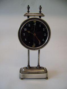 Vintage Rare Piller Gravity Clock Silver Plate 10-1/2  x 4-1/4  Patt No15238-19
