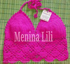 Menina Lili Croche: Top Cropped de Crochê rosa pink