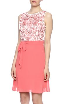 Coral embroidered dress with a flowya-line skirt round neckline v-back waist tie and full lining.  Coral Embroidered Dress by YA. Clothing - Dresses - Casual Indiana