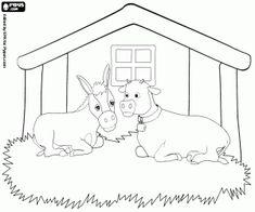 De dieren in de stal: de os en de ezel kleurplaat