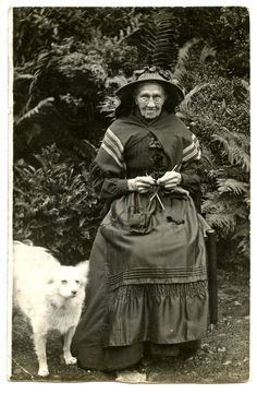 1900s Woman Knitting & Spitz Dog Real Photo by AuntieGVintage