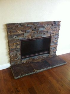 Sweet Stacked Slate fireplace CDC did last year in DeLuz. Fireplace Hearth Stone, Stacked Stone Fireplaces, Fireplace Update, Fireplace Remodel, Fireplace Wall, Fireplace Surrounds, Fireplace Design, Fireplace Mantles, Fireplace Ideas