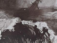 """Ce détail d'un dessin de Victor Hugo représente l'océan par gros temps la nuit - Lié au poème """"Gros temps la nuit"""", du recueil """"Toute la lyre"""", de ce même Victor Hugo."""