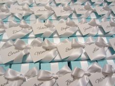 Tiffany Box wedding favours used as place cards from www.littlegemsweddings.co.uk