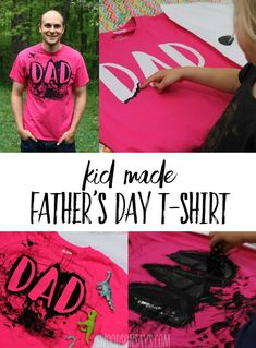 This is a super fun Homemade T-Shirt Idea for Dad - super simple way to finger paint over a fun design. Diy Father's Day Shirts, Dad To Be Shirts, Diy Shirt, Homemade T Shirts, Easy Fathers Day Craft, Toddler Fathers Day Gifts, Dad Crafts, Freezer Paper Stenciling, Father's Day Diy