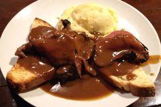 Open-faced roast beef sandwich from Finnegan's Wake, an Irish pub on East Street in Walpole, MA. (from http://hiddenboston.com/foodphotos/finnegans-roast-beef.html)