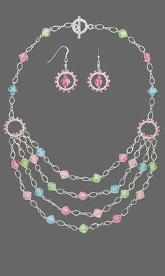 Jewelry Design - Multi-Strand Necklace and Earring Set with Swarovski Crystal Beads and Sterling Silver Chain - Fire Mountain Gems and Beads Swarovski Crystal Beads, Crystal Jewelry, Wire Jewelry, Jewelry Sets, Jewelry Crafts, Beaded Jewelry, Silver Jewelry, Pandora Jewelry, Silver Ring