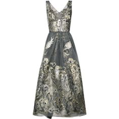 Marchesa Notte metallic floral dress (1,075 CAD) ❤ liked on Polyvore featuring dresses, grey, flower pattern dress, botanical dress, floral day dress, metallic dress and floral printed dress