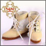 EH0032A Ivory Leather & Lace Boots