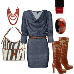 casual dress, tory burch boots