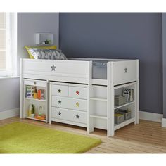 Buy Argos Home Stars White Mid Sleeper Bed, Drws, Desk & Shelves White Mid Sleeper, Mid Sleeper Bed, White Kids Bed, Cabin Beds For Kids, Storage Unit Sizes, Kids Bed Frames, Diy Storage Bed, Deco Kids, Bunk Rooms