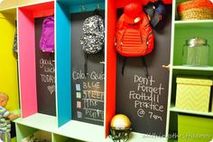 These colorful chalkboard cubbies are a fantastic way to keep your kids backpacks, shoes, and schedules organized! #storage #organization| From Brooke of All Things Thrifty Blog
