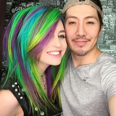 Guy Tang Green, Purple, and Turquoise Hair << is that supermaryface? Beautiful Hair Color, Cool Hair Color, Hair Colors, Neon Hair, Pastel Hair, Bright Hair, Dying My Hair, Love Hair, Guy Tang Hair