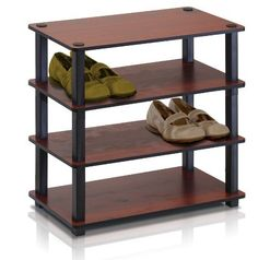 Flat Solid Wooden Shoe Rack Tray Furinno Platform 4 Level Black Cherry  Furinno Turn-S-Tube No Tools Series multipurpose storage rack shelves comes in 2-3-4 Tiers and variety of width and depth. This series of products also includes difference sizes width, height and different fun colors. This series is designed to meet the demand of fits in space, fits on budget and yet durable and efficient furniture. It is proven to be the most popular RTA furniture due to its functionality, price, and…