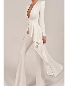 Find Our Fabulous Suits On New In. And The New Races Section On Our Website. Wedding Robe, Wedding Pantsuit, White Fashion, Look Fashion, Womens Fashion, Fashion Design, Fashion Glamour, Evening Dresses, Prom Dresses