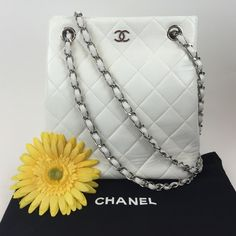 2eb8ecbc1307 Chanel White Quilted Lambskin Shoulder Bag Chanel White Quilted Lambskin Shoulder  Bag. Can be worn