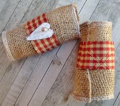 Country Glam Set - Romantic Rustic Country Western Primitive Woodland Burlap Napkin Rings Red Checked Fabric Glitter Heart & Crystal