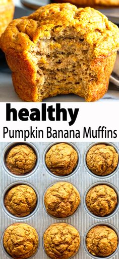 These Healthy Pumpkin Banana Muffins are a tasty snack for toddlers, kids and adults. Everyone will love the warm pumpkin flavors. These Pumpkin muffins are naturally sweetened and made with whole wheat flour, so they are as healthy as they are delicious! Healthy Muffins, Healthy Treats, Healthy Baking, Healthy Desserts, Dessert Recipes, Dinner Healthy, Clean Eating Pumpkin Muffins, Healthy Fall Recipes, Chocolate Pumpkin Muffins