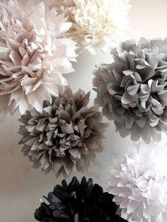 Paper pompom kit  6 poms  pick your colors by pomtree on Etsy, $24.00
