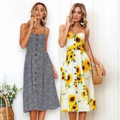 Strap V Neck Summer Dress Women Sunflower Print Backless Party Dress Casual Vestidos High Wasit Midi Female Beach Dresses 2018