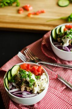 A healthy gluten free quinoa bowl made with American Lamb satisfies the strongest of gyro cravings.