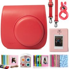 CAIUL 7 in 1 Fujifilm Mini 8 8  Camera Accessories (Raspberry Instax Mini 8 Case/ Mini Album/ Close-Up Selfie Lens/ 4 colors Close-Up Lens/ Wall Hang Frames/Film Frame/Film Stickers) *** Check out this great product.