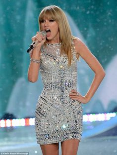 Crystal princess: Swift easily commanded the runway all the while looking like an adorable human disco ball