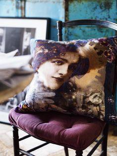 ⋴⍕ Boho Decor Bliss ⍕⋼ bright gypsy color & hippie bohemian mixed pattern home decorating ideas - Art Portrait Pillows