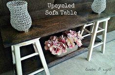 Sofa table built out of bar stools! table, diy table, build a table, sofa table Furniture Projects, Furniture Makeover, Home Projects, Diy Furniture, Bar Stool Makeover, Outdoor Projects, Craft Projects, Decor Crafts, Diy Home Decor