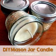 DIY Mason Jar Candles - simple beeswax & coconut oil candle. Great for gifts & emergencies too! | by ImperfectlyHappy.com