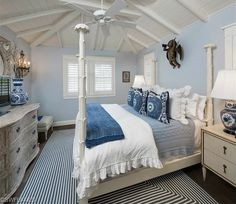 Blue coastal beach bedroom - four poster bed - bead board ceiling. Beach House with Guest Cottage for Sale in Olde Naples, Florida Cottage Style Bedrooms, Coastal Bedrooms, Cottage Style Homes, Guest Bedrooms, Florida Homes For Sale, English Cottage Style, Condo Decorating, Interior Decorating, Master Bedroom Design