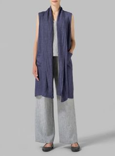 VIVID LINEN - Linen Hi-lo Hem Vest -Soft and lightweight fabrication. The perfect wear-over-anything top layer for your favorite occasion.