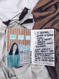'I heard, After a dream dies Or a heart breaks, There's only silence. What wasn't true about this there's everything but silence when a dream dies or a heart breaks' // journaling, flatlay, crafts, scrapbooking, diy, notebook, tumblr aesthetic, photography, instagram ideas inspiration, words, quotes, illustration, lifestyle creative bloggers, poem by Noor Unnahar //