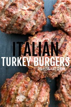 Clean Eating Recipe: Italian Homemade Turkey Burgers Make these Italian Seasoned Homemade Turkey Burgers as a delicious flavorful option for burger night! Lean ground turkey is bursting with flavor and an ideal option to toss on the grill this summer. Homemade Turkey Burgers, Ground Turkey Burgers, Grilled Turkey Burgers, Turkey Burger Recipes, Ground Turkey Recipes, Beef Recipes, Cooking Recipes, Healthy Recipes, Healthy Turkey Burgers
