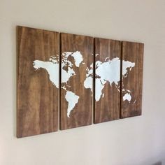 Large World Map Wall Art on Wood - 4 Piece Set - Rustic Style, Home Decor, Farmhouse Decor, Wood Map, Timber Map Brown, White Wooden Map Big