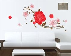 Wall Decals - YYone Big Roses with Some Leaves Removable Wall Decal Home Decor Sticker Flower Mural