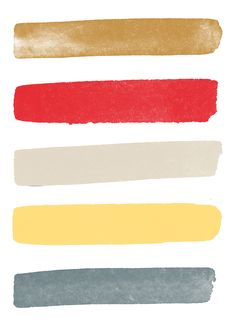 yellow, red, gold, blue-grey.