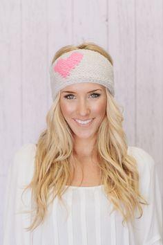 Heart Knitted Headband LOVE Knitted Ear Warmer by ThreeBirdNest, $38.00