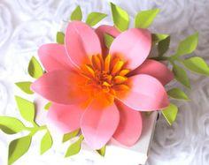 Pink Ribbon The Full Bloom Dahlia Handmade Paper by PAPERandPEONY
