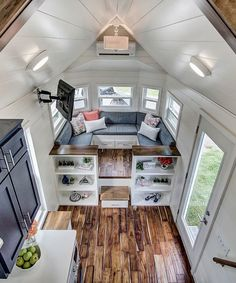 Interiors of tiny houses by modern tiny living tiny living interior tiny house on wheels . Tiny House Storage, Built In Bench, Tiny Spaces, Small Apartments, Small Living Spaces, Loft Spaces, Modern Spaces, Small Rooms, Tiny House Living